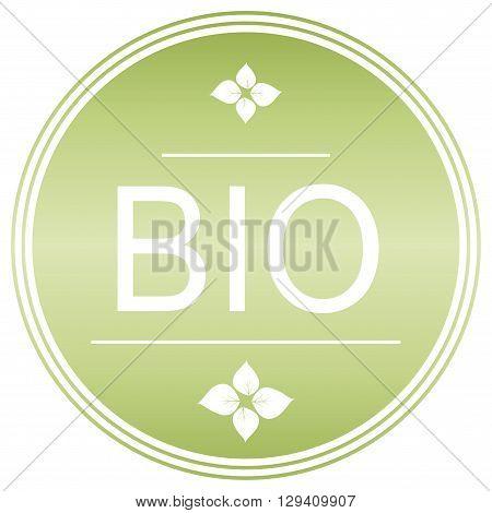 Bio certification. Green label. Bio symbol. Vector.