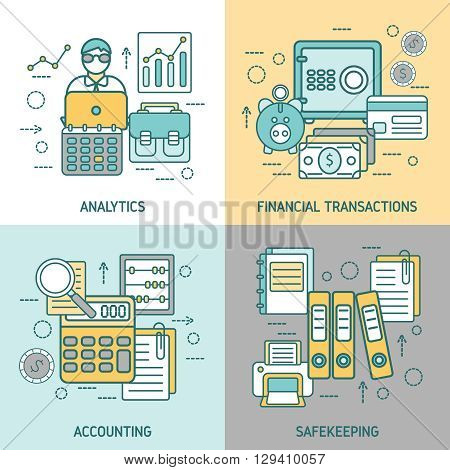 Finances and accounting concept with analytics business transactions archives and briefcase computer printer magnifier isolated vector illustration
