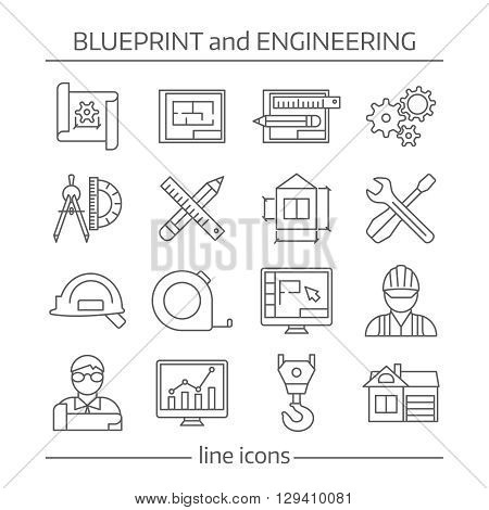 Blueprint and engineering linear icons set with gears computer programs crane tools drafts schemes isolated vector illustration