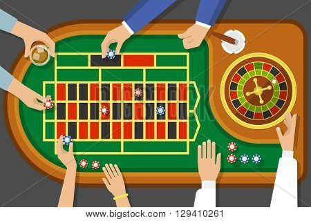 Game of roulette top view with female and male hands cigar chips on playing field vector illustration