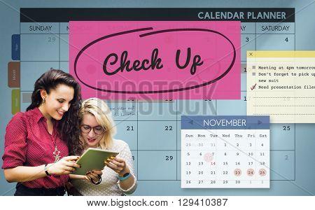 Check up Event To Do List Headline Concept
