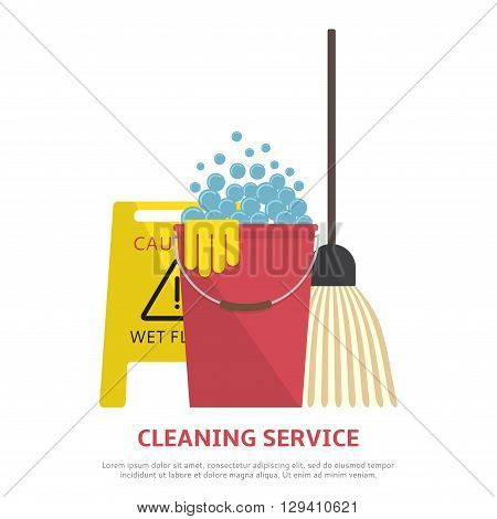 Cleaning service banner in flat style. Vector illustration with wet floor sign, plastic red bucket, mop.