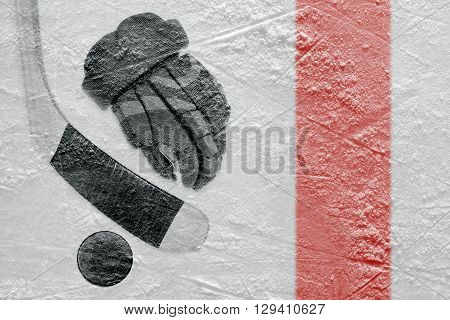Hockey glove stick and puck on a hockey rink. Concept