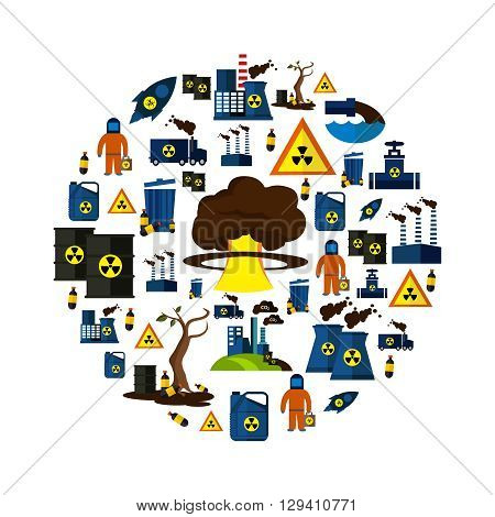 Environmental Pollution Icon Set combined In big circle with tools of environmental hazard and big bang as mushroom form in the middle vector illustration