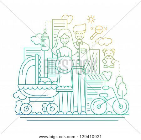 Illustration of vector modern line flat design city composition and infographics elements with a  happy family expecting a baby
