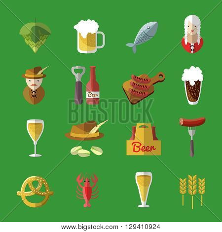 Beer icons flat set looks like Irish pub with snacks and drinks from the bar Irish bartender and waitress vector illustration