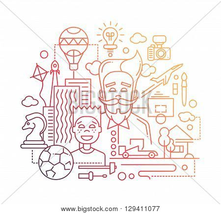 Illustration of vector modern line flat design happy father and son composition with common hobbies symbols and infographics elements - gradient color
