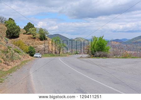 Sudak, the Crimea - April, 2016: Mountain road in East Crimea
