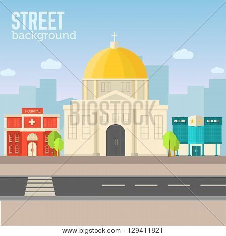 Church Building In City Space With Road On Flat Syle Background