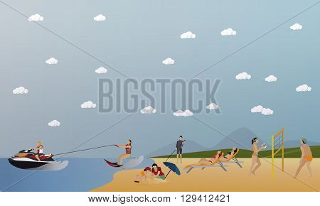 Vector set of summer recreation concept banners in flat style. People playing water sport on a beach.