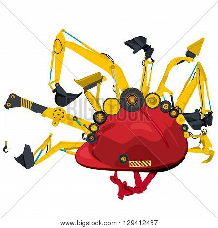 Construction machinery with red helmet. Yellow set of ground works machines vehicles elements. Construction equipment for building. Truck, digger, crane, forklift, small bagger, roller, excavator.