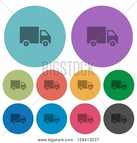 Color delivery flat icon set on round background.