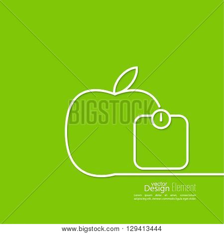 Apple with weights. The concept of  healthy diet and weight loss. outline. minimal. icon