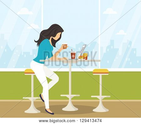 Young woman working with laptop, eating burger and drinking coffee in student cafe. Flat illustration of students lifestyle during preparing for the exams