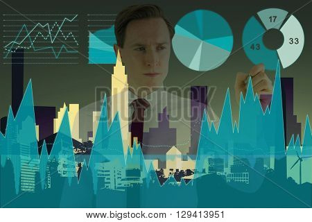 Businessman writing something with chalk against cityscape stencil design