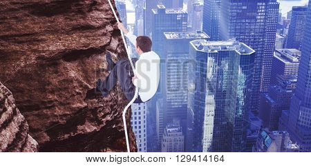 Businessman pulling a rope with effort against image of a city landscape