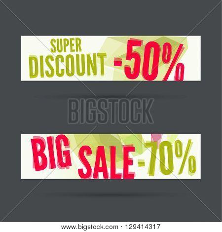 Set of discount banners. Big sale. Super discount