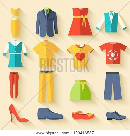 Collection Style Fashion Clothing For People Icon Set Background