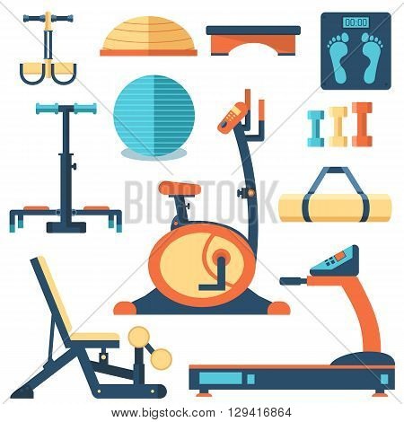 Fitness Sport Gym Exercise Equipment Workout Flat  Set Concept.  Vector Illustration For Colorful Te