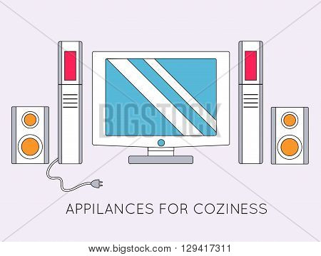Flat Media Home Theater Background Concept