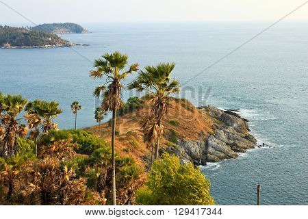 Promthep Cape is a mountain of rock that extends into the sea in Phuket Thailand.