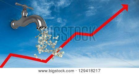 Falling dollars against blue sky