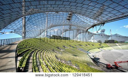 Munich, Germany, 24 April, 2016: View of the Olympic stadium in Munich Germany