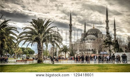 Istanbul, Turkey - February 9, 2013: Blue Mosque (Sultanahmet Cami) in Sultanahmet, Istanbul, Turkey