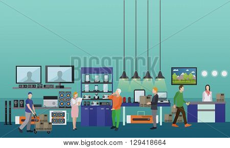 People shopping in a mall. Consumer electronics store Interior vector illustration. Design elements and banners in flat style.