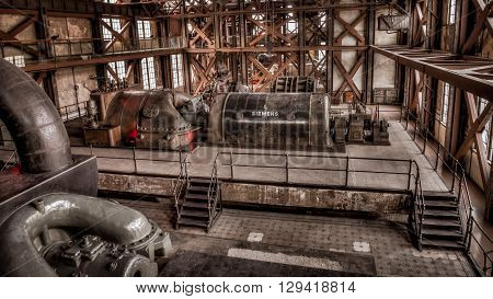 Istanbul, Turkey, March 2, 2013: Santral istanbul, electric Generator in Istanbul.These are the first equipment used to produce energy for Istanbul in Ottoman era.