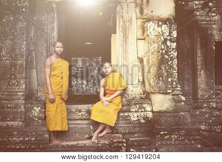 Contemplating Monk in Cambodia Tradition Concept