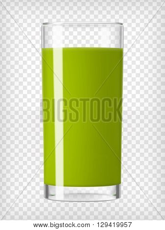 Green smoothie glass. Fruit organic drink. Healthy diet. Clean eating. Tall glass with beverage. Transparent  photo realistic vector illustration.