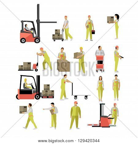 Delivery people silhouettes. Logistic and transportation icons isolated on white background. Vector illustration in flat style design. Delivery man working in warehouse and shipping products.