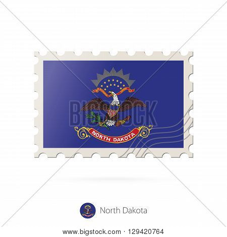 Postage Stamp With The Image Of North Dakota State Flag.