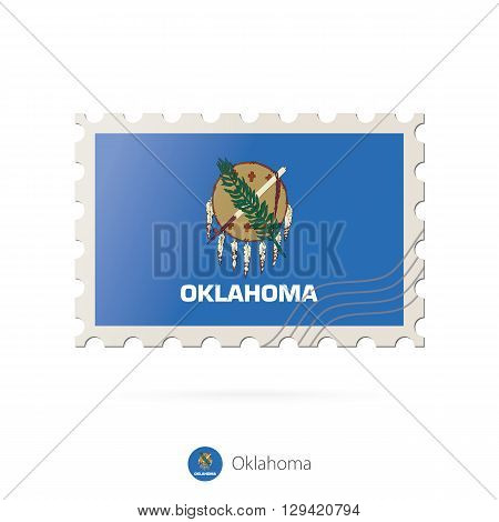 Postage Stamp With The Image Of Oklahoma State Flag.