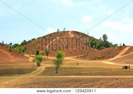 The landscape view of bald mountain or grass mountain in Ranong province Southern Thailand