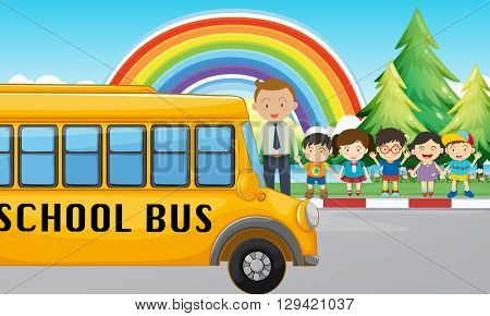 Children and school bus on the road illustration