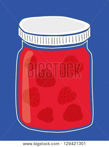 Vector illustration of a glass jar of homemade strawberry jam with whole strawberries inside