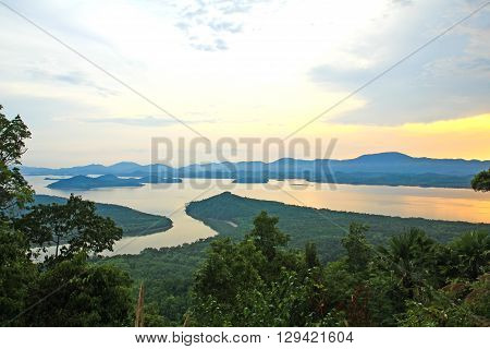 Sunset at scenic point of Khao Fha Chee RanongThailand.
