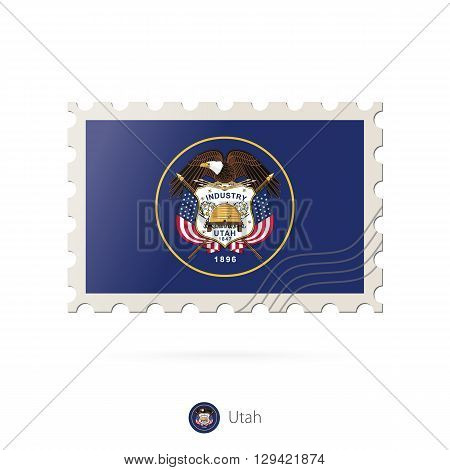 Postage Stamp With The Image Of Utah State Flag.