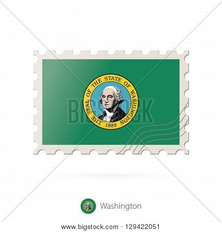 Postage Stamp With The Image Of Washington State Flag.