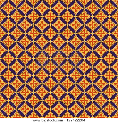 Eastern seamless pattern in purple red and yellow colors. Colorful oriental ornament. Vector abstract background.