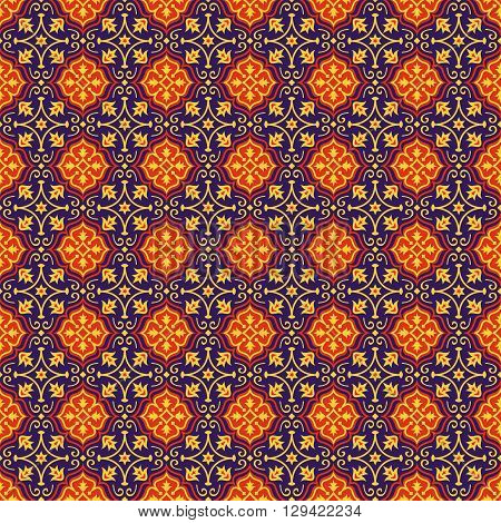 Eastern seamless pattern in blue red and yellow colors. Colorful oriental ornament. Vector abstract background.