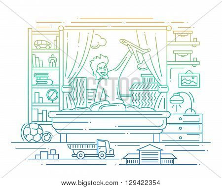 Illustration of vector modern line flat design composition and infographics elements with a boy playing in his room - gradient color