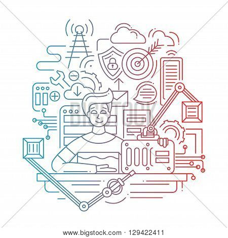Illustration of vector modern line flat design problem solution strategy composition and infographics elements with a male suggesting ready-made solution - color gradient