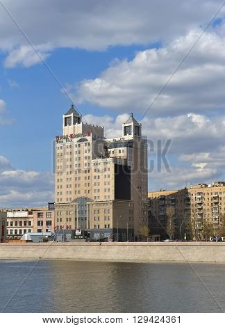 MOSCOW, RUSSIA - APRIL 24, 2016: A view of the building of Russia's largest financial holding IFD Kapital Group Krasnopresnenskaya embankment 6