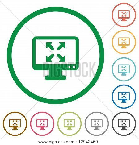 Set of fullscreen view color round outlined flat icons on white background