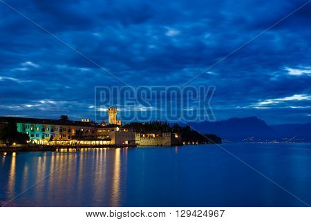 Fortress on peninsula of Garda lake landmark of Sirmione town Italy