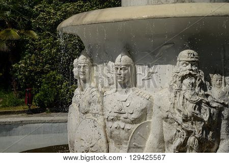 The monument in Dendrarium of Sochi, Russia