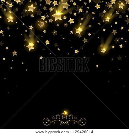 salute of golden falling stars on a black background
